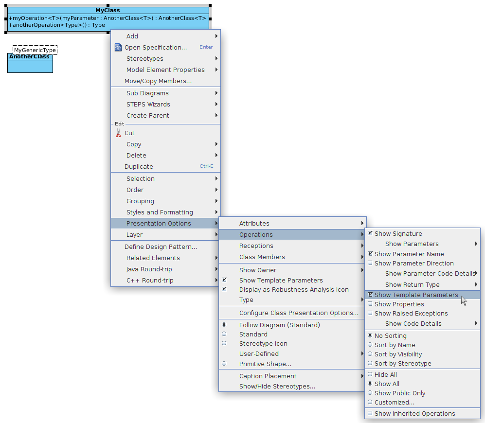 UML class diagram , How can i draw generic method with type ...